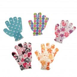 Мочалка-перчатка массажная в горошек 18*14 см, цвета МИКС