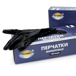 АВИОРА Перчатки виниловые неопудренные 100шт L Черные