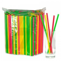 АВИОРА Трубочки гофра для напитков 250шт 8х240мм цветные