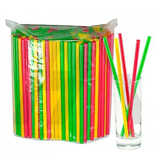 Трубочки для напитков 8х240мм, прямые, 250шт Цветные