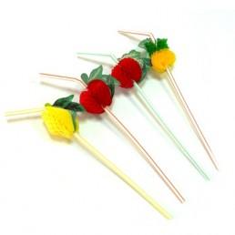 Трубочки для напитков 12шт 240х5мм фрукты цветные