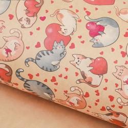 Бумага упаковочная крафт Влюбленные коты 70х50 см
