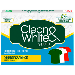 CLEAN&WHITE Мыло хозяйственное 125г Универсальное