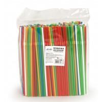АВИОРА Трубочки гофра для напитков 250шт 5х240мм цветные