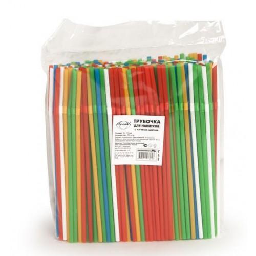 Трубочки гофра для напитков 250шт 5х210мм цветные