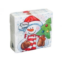 ДЕСНА салфетки бумажные 1сл 25х25см 40л Снеговик