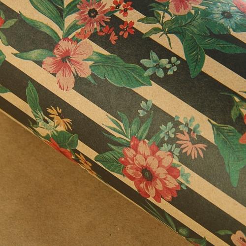 Бумага упаковочная крафт Цветочные линии  70 х 100 см