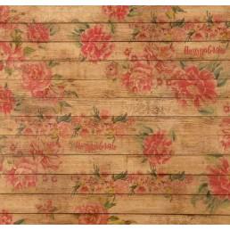 Бумага упаковочная крафт  Досочки с цветами 50 х 70 см