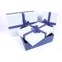 Коробка подарочная Синий бант 150х150х65мм