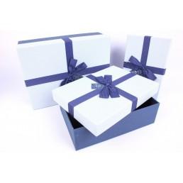 Коробка подарочная Синий бант 190х190х95мм
