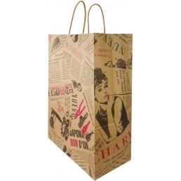 Пакет крафт 300х400х150 с крученной ручкой Газета