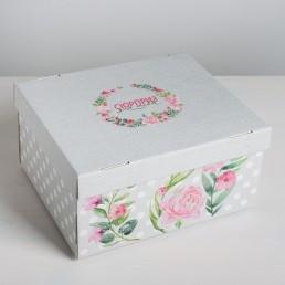 Складная коробка с крышкой 31.2х25.6х16.1см Цветочный сад арт 4016135