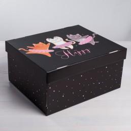 Складная коробка с крышкой 31.2х25.6х16.1см Котики арт 4016139