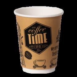 Стакан бумажный одноразовый 250мл 2сл д-80мм 30шт Кофе Тайм