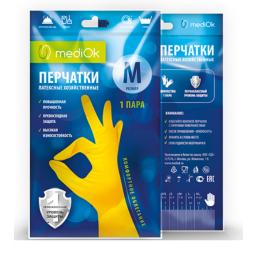 MEDIOK Перчатки латексные хозяйственные 1пара M