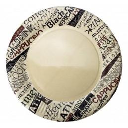 Тарелка бумажная д-230мм 50шт Кофейные надписи