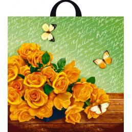 Пакет с петлевой ручкой 44х44см Желтые розы