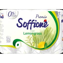SOFFIONE PREMIO Туалетная бумага 3сл 12рул Fresh Lemongrass