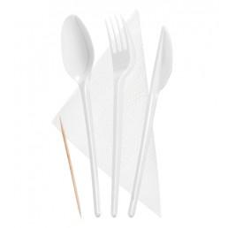 Набор столовых приборов 5в1 (Вилка, ложка столовая, нож, зубочистка, салфетка)