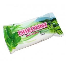 ДИСКОНТ Влажные салфетки Антибактериальные 15шт Зеленый чай