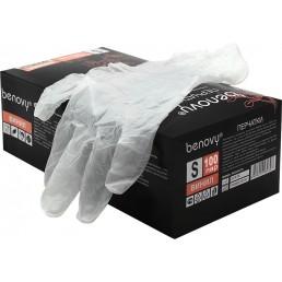 BENOVY Перчатки виниловые 100пар L