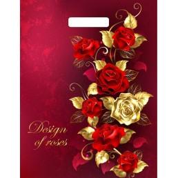 Пакет с вырубной рочкой 31х40 Золотая роза