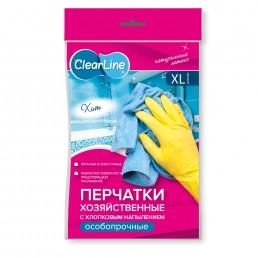 CLEAR LINE Перчатки хозяйственные с хлопковым напылением Особопрочные 1пара L