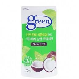 GREEN Средство для мытья посуды 300мл Травы и кокос