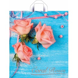 Пакет с петлевой ручкой 42х38см Коралловые розы