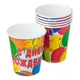 Набор бумажных стаканов с днем рождения 200мл 6шт