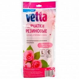 ВЕТТА перчатки резиновые с ароматом розы L