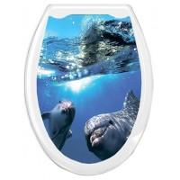 ОКЕАН Сиденье жесткое с рисунком Дельфины