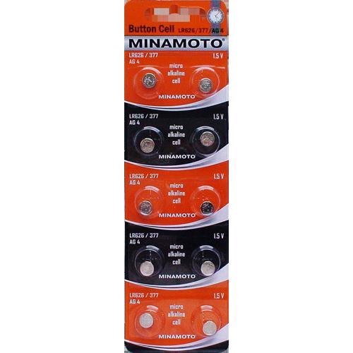 MINAMOTO Батарейки алкалиновые LR626/377/AG4 1.5V 2шт