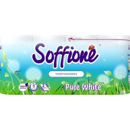 SOFFIONE PURE WHITE Туалетная бумага 2сл 8рул