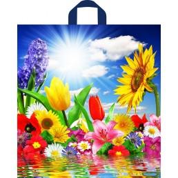 Пакет с петлевой ручкой 38х42см Море цветов