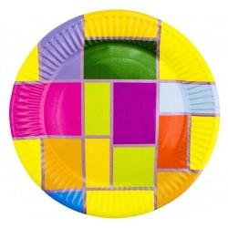 Тарелка бумажная д-180мм 50шт Цветное Рандеву