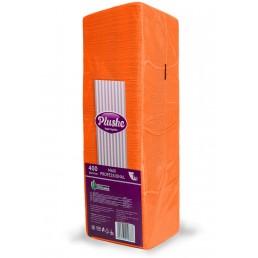 ПЛЮШ Салфетки бумажные 24х24см 1сл 400л Интенсив, Оранжевые