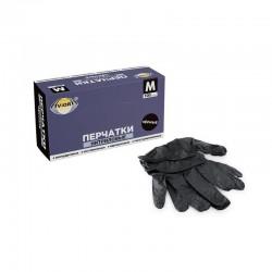 АВИОРА Перчатки нитриловые неопудренные 100шт M Черные