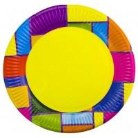 Тарелка бумажная д-230мм 50шт Цветное Рандеву