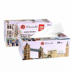 MANEKI DREAM Салфетки бумажные в коробке 2сл 250шт С ароматом Европы