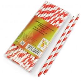 LEMIO Трубочки бумажные коктейльные 6х197мм 25шт Красная полоса