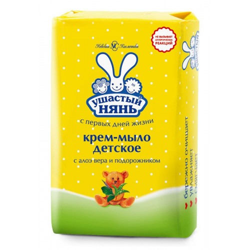УШАСТЫЙ НЯНЬ Крем-мыло 90г Алоэ и подорожник