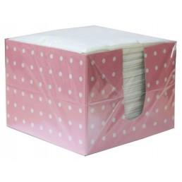ЛИЛИЯ Салфетки бумажные в коробке 1сл 24х24см 100шт Розовый горох