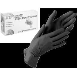 LINGER Перчатки виниловые неопудренные 100шт XL Черные