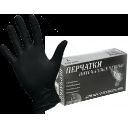 LINGER Перчатки нитриловые неопудренные 100шт L Черные