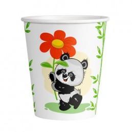 Стакан бумажный одноразовый 250мл д-80мм 50шт Веселая панда