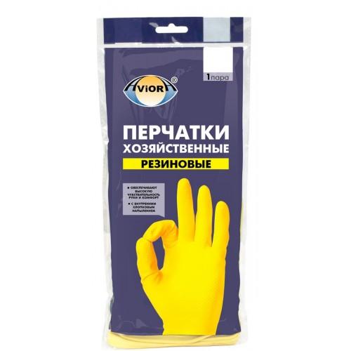 АВИОРА Перчатки хозяйственные резиновые 1пара S