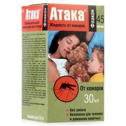 АТАКА Жидкость от комаров 30мл (45 ночей)