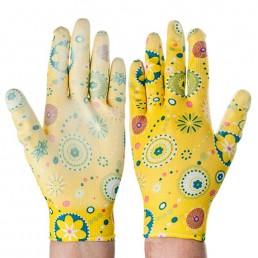 INBLOOM Перчатки садовые с нитриловым полуобливом, 9 размер, 23см 1пара Цветные