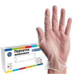 МИСТЕРИЯ Перчатки виниловые неопудренные 100шт M